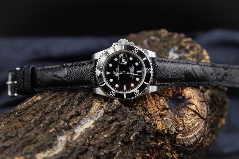 942cf6376 Black Ostrich Leather Handmade Watch Strap Ostrich Watch Band | Etsy