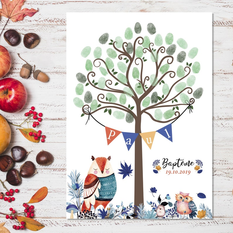 Footprint tree for baptism birthday or baby shower. Tree footprints forest boy with his owls