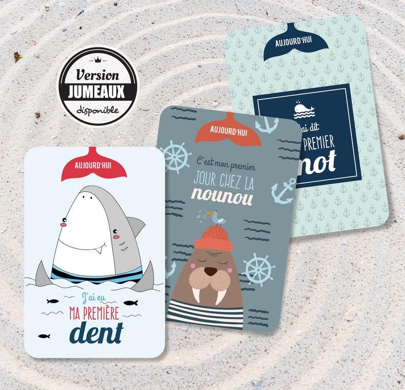Immortalisez la première année de bébé avec ces cartes étapes originales avec des animaux marin - Créatrice ETSY : OmadeCreation