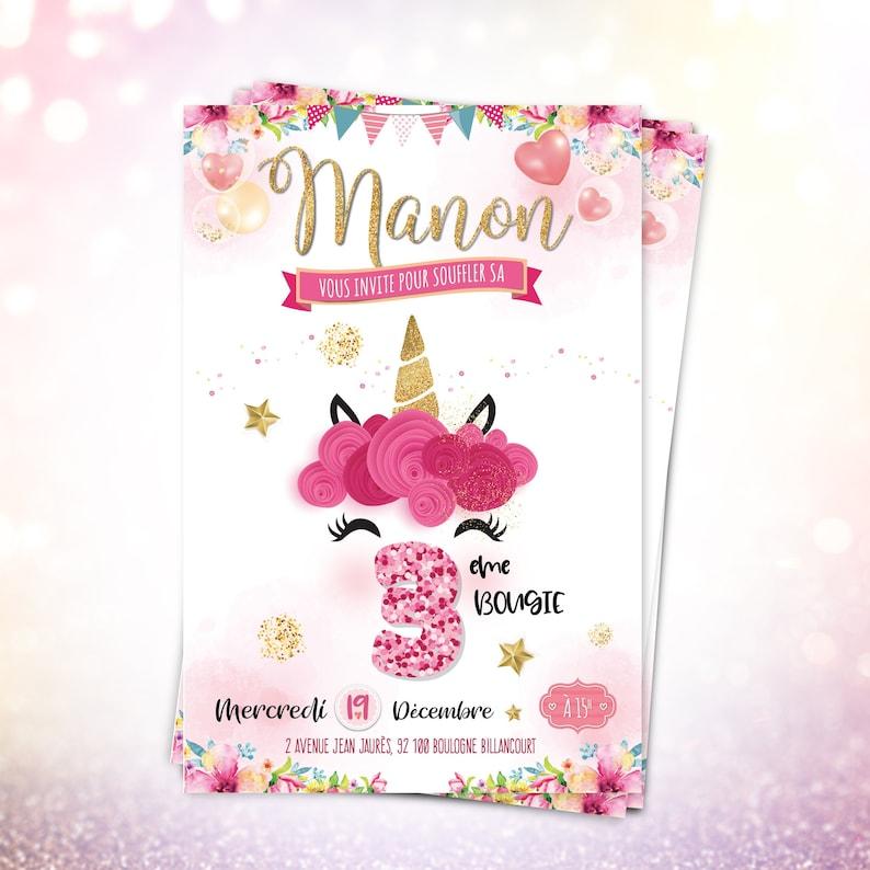 Invitation Anniversaire Fille Licorne Carton Invitation Enfant Carte Invitation Anniversaire Princesse Papier Haut De Gamme