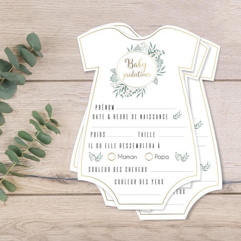Lot de cartons de jeux baby shower, jeux bébé prédictions, thème chic or et fleurs - Découpe de cartes en body de bébé - Créatrice ETSY : OmadeCreation