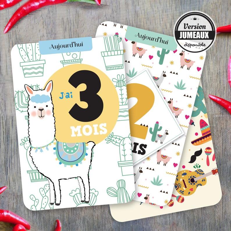 Immortalisez la première année de bébé avec ces cartes étapes originales sur le thème lama - Créatrice ETSY : OmadeCreation