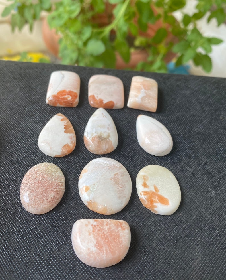 191.90 CTS  10 Pcs Lot 100/% Natural Pink Scolecite Gemstone Pink Scolecite Cabochon For Ring Pendant  Jewellery