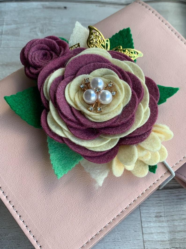 Burgundy /& Ivory Swag  Planner Swag  Planner Decoration  Planner Accessory  Felt Flower