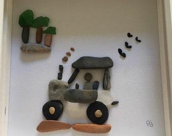 Boys Tractor, Personalised, Unique, Beach Art, Pebbles, Sea Glass Picture