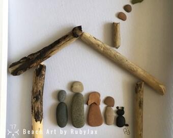 New Home, Family Personalised, Unique, Beach Art, Pebbles, Sea Glass Picture
