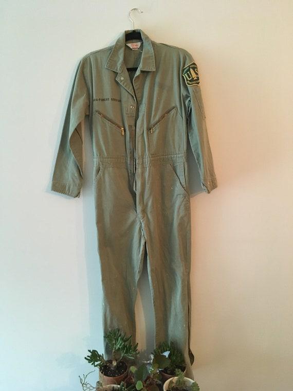 Vintage Women's Forest Service Green Jumpsuit