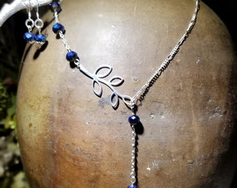 Sterling Silver Necklace with Midnight Blue Beads