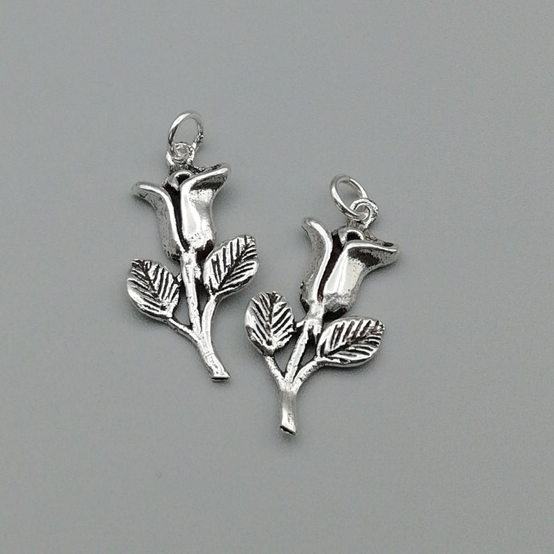 925 Sterling Silver Charms 2 Sterling Silver Rose Charms CHM77