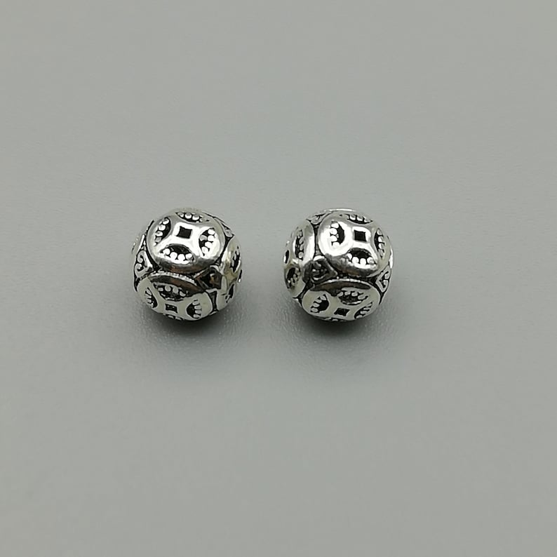 3 Sterling Silver 8mm Punched Out Beads 925 Sterling Silver Beads BP69