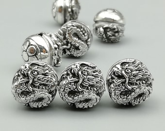 1 Sterling Silver 10mm Dragon Bead | 925 Sterling Silver Beads | BR02