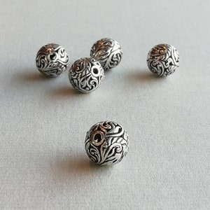 925 Sterling Silver Beads BP297 1 Sterling Silver Oval Carved Filigree Floral Bead