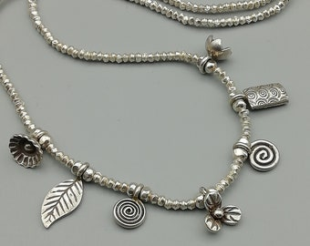 19 Inch 97% Sterling Silver Hill Tribe Charm Necklace | Karen Chain Necklace | C13
