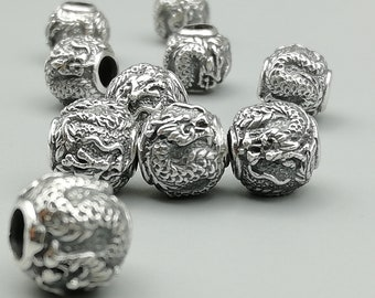 1 Sterling Silver 10mm Dragon Bead   925 Sterling Silver Beads   BP64