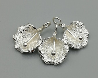 2 Sterling Silver Flower Charms |  97 Percent Sterling Silver Hill Tribe Charms | KC05
