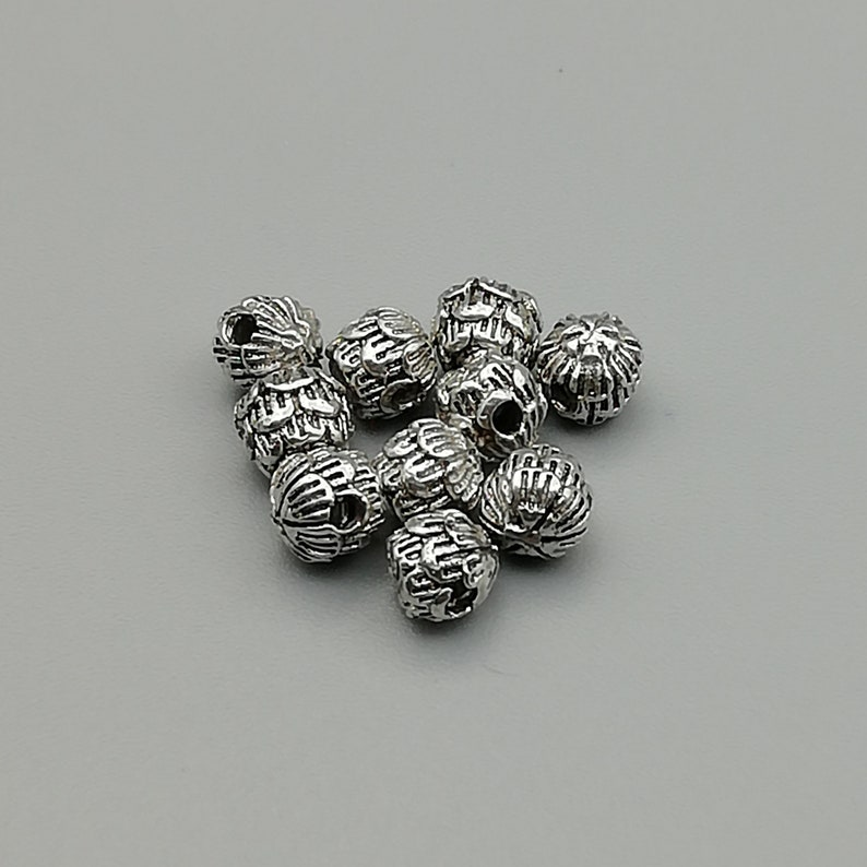 6 Sterling Silver Layered Flower Petal Beads 925 Sterling Silver Beads BP135