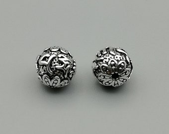 3 Sterling Silver 7mm Carved Nepalese Beads | 925 Sterling Silver Beads | BP63