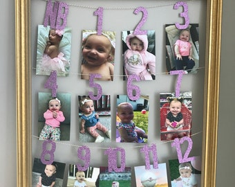 1st Birthday Photo Banner Small Year Milestone Party Decorations Boy Or Girl