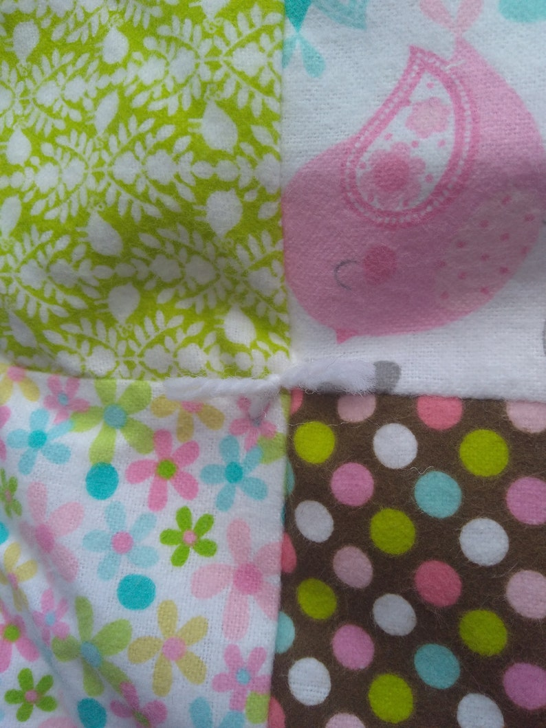 Homemade Quilts Baby Quilt and Pillow Set Tied Flannel Baby Blanket Pastel Nursery Decor Baby Shower Toddler Bed Set