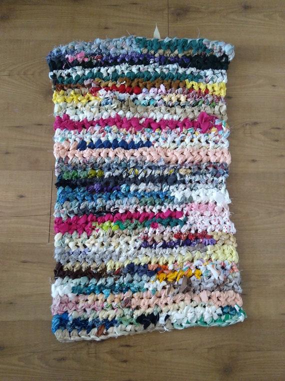 Crocheted Rag Rugs, Farmhouse Kitchen Rug, Kitchen Floor Mat, Upcycled Rug,  Door Mat Rug, Farmhouse Rug For Bathroom, 2x3 Rug, Scrap Rug