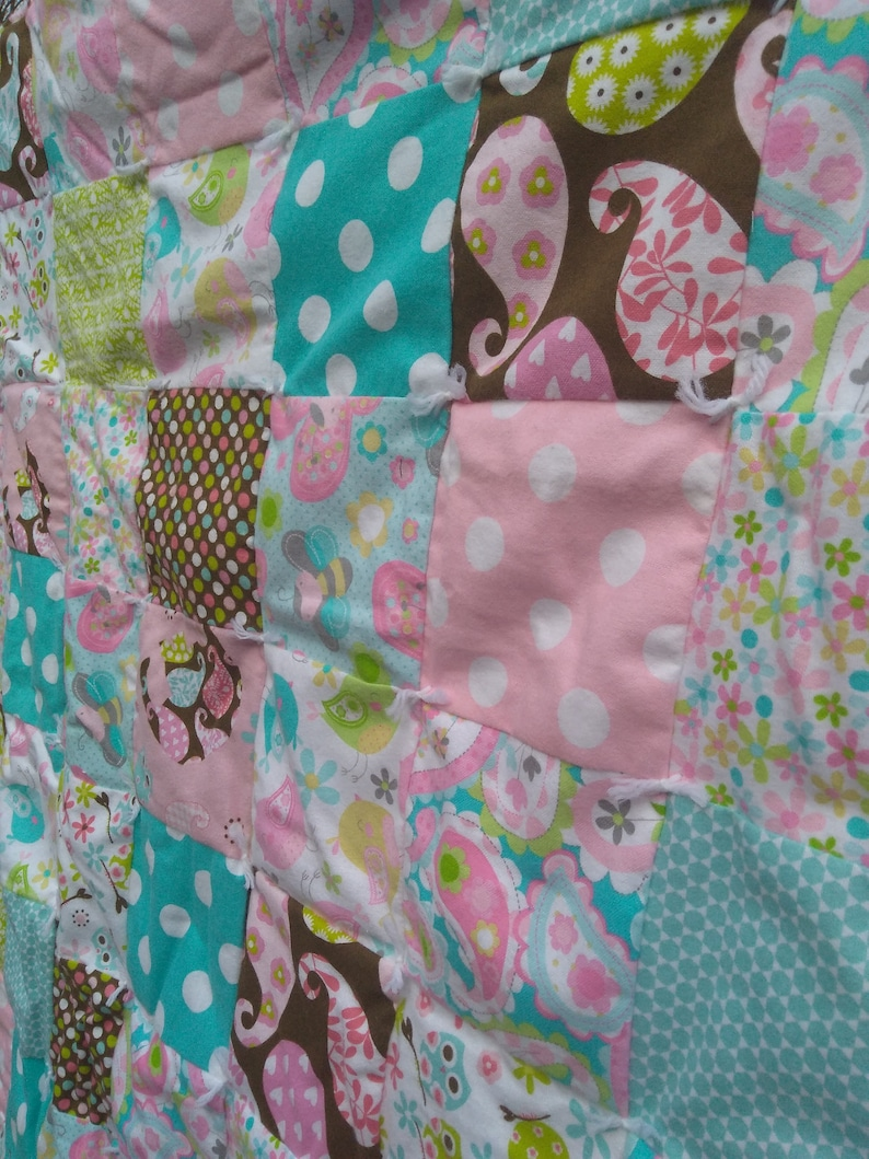 Homemade Quilts Pastel Nursery Decor Tied Flannel Baby Blanket Toddler Bed Set Baby Shower Baby Quilt and Pillow Set