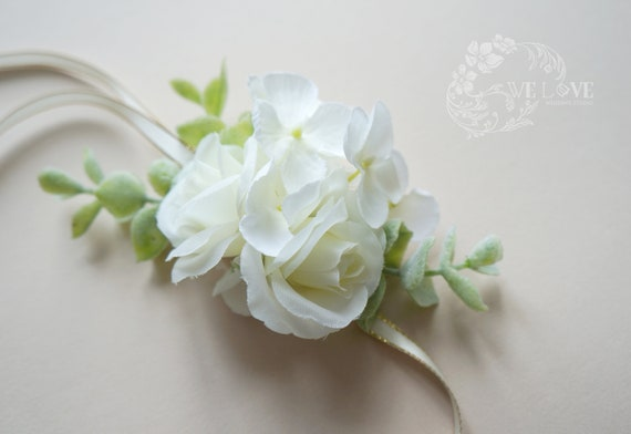 White Rose Corsage Bridal And Bridesmaid Corsage White Etsy