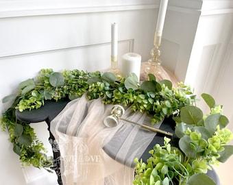 6.5FT Eucalyptus & Boxwood Garland, Wedding Centerpiece, Greenery Garland, Table Runner, Greenery Backdrop, Photo Booth, Boho Wedding