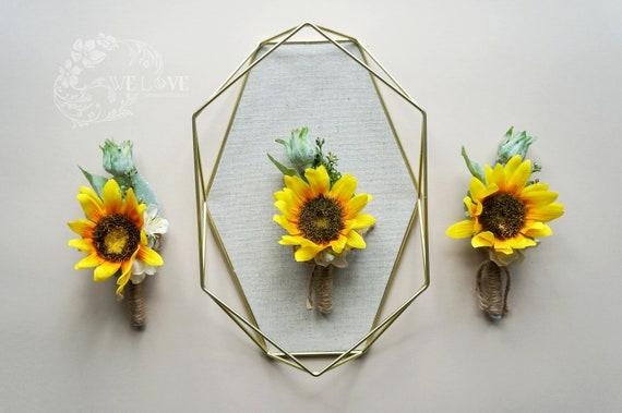 Sunflower Boutonniere wedding flowers,Groom boutonniere,Groomsman boutonniere Yellow Boutonniere,Woodland boutonniere,Boho Boutonniere
