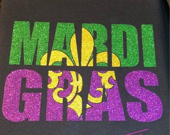 Mardi Gras glitter Fleur de Lis