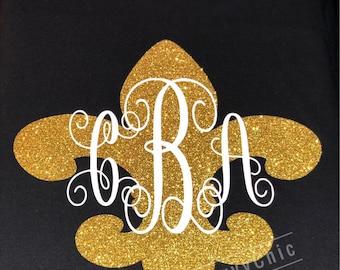 Monogram on Gold glitter tee