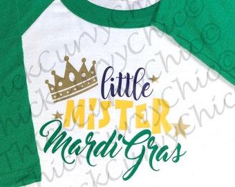 Little Mister Mardi Gras Raglan
