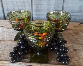 Vintage Indiana Olive Green Glass Sherbet or Short Pedestal Vase in the Colony Park Pattern Set of (3)