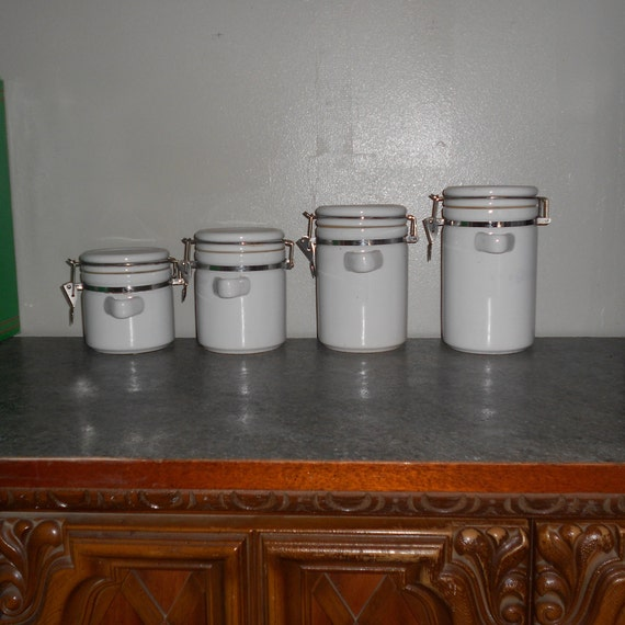 Kitchen Canister Set of 4, Vintage Stoneware Canisters