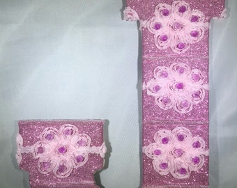 Pink Sparkle Flower Initial