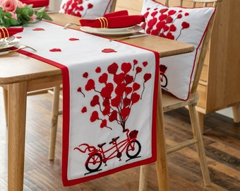 Love /& Hearts Valentine/'s Day embroidered off white burlap table runner with red edges 12 x 57