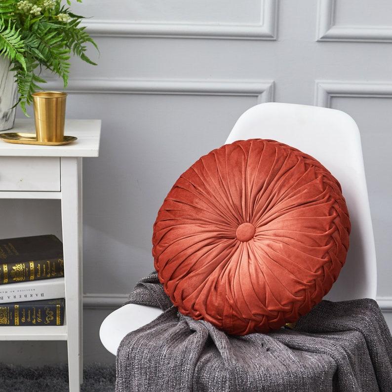 Round Pintuck Throw Pillow 14.5 Rust Orange Color image 0