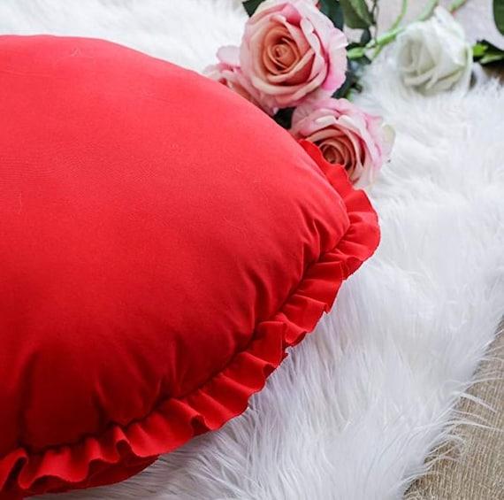 Anniversary Gift Red Heart Ruffled Decorative Throw Pillow Cushions Birthday