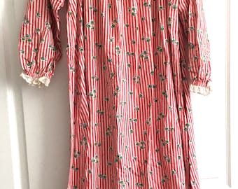 032598b42f Vintage Lanz of Salzburg Flannel Long Ruffle Nightgown Size P Small Apples  Cherry Red Striped Back Button Modest Classic