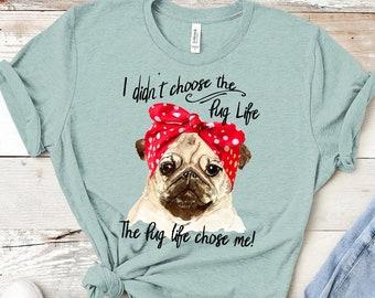 2b25f8149 Pug Life Shirt, Pug Shirt for women, Vintage Pug, Funny Pug Life Shirt - Cute  Pug Shirt - Gift for Pug lover - Pug Dog Gift - Pug Tee Shirts