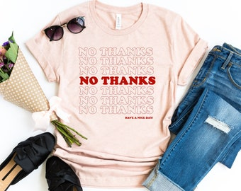f3f35353 No thank you shirt Grocery bag tshirt. No thanks. tumblr shirt harajuku.  kawaii. hipster. grunge t shirt. Popular shirts. Aesthetic Clothing