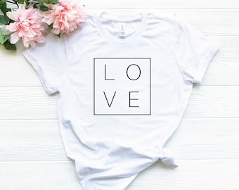 cb7f1c3c2 Love Square T-shirt, Women's Graphic Tees, Love T-shirt for Her, Square T- shirt, Gift for Her, Tumblr Shirt, Aesthetic Clothing, Trendy Tees