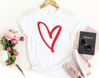 be038895 Mothers day gift. Heart shirt. Love shirt. Graphic Tee. Womens tshirts.  Cute gifts for teen girl. Mothers day gift for daughter. Sister gift