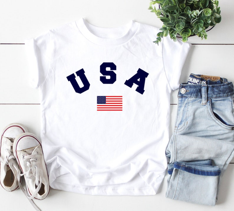 American Flag T-Shirt Toddler Boys 2T 3T 4T 5T Patriotic USA Spirit