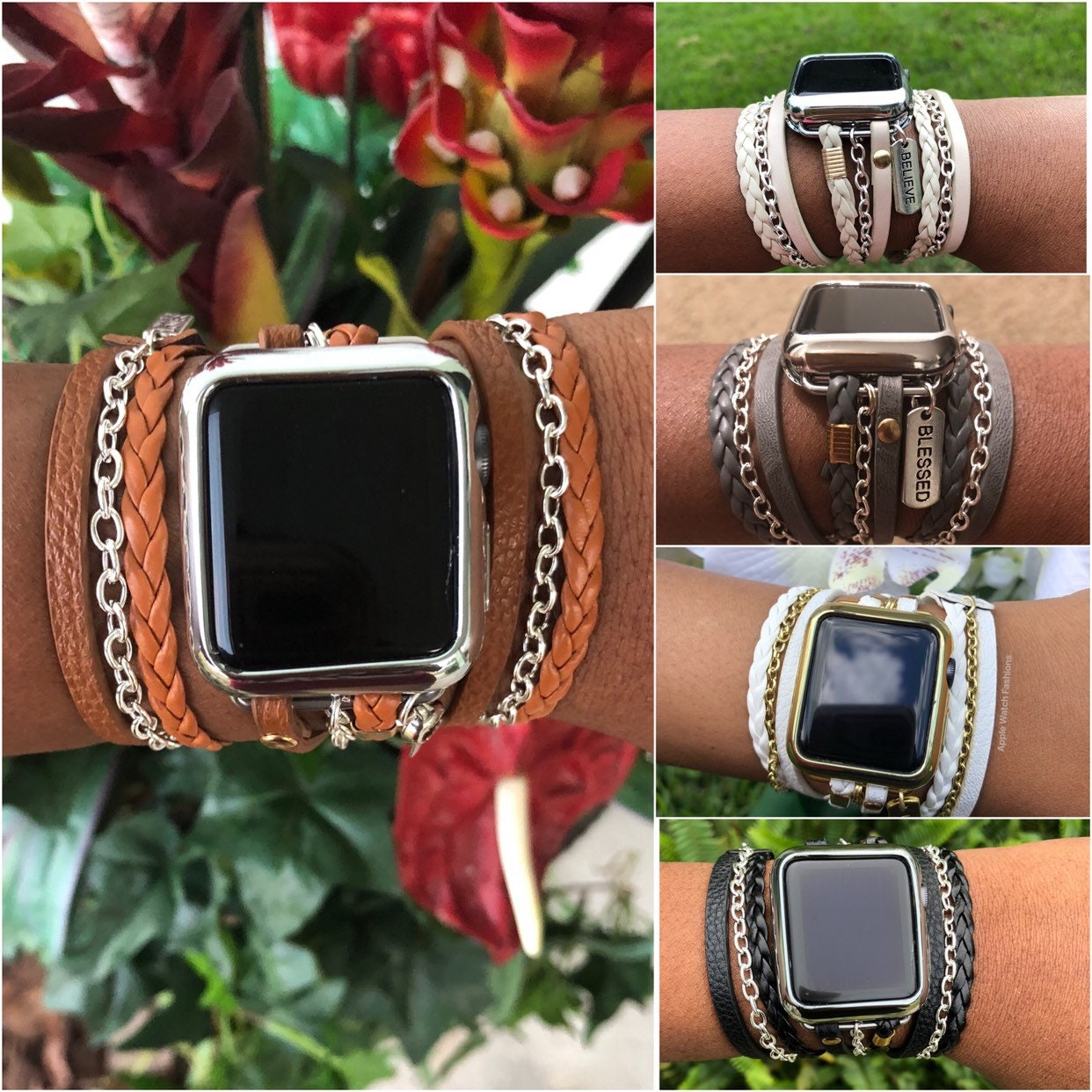 Womans Boho Chic Wrap Apple Watch Band series 4 1 2 3