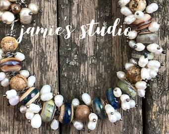 Lampwork Bracelet - Earth-tone Lampwork Glass Beads Freshwater Pearls  Sterling Silver Jamie's Studio Bead Bracelet - JSLB
