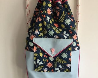 Poodle drawstring backpack baby blue