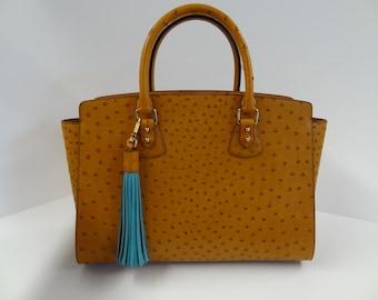 c87d9ae2c2 Genuine ostrich leather handmade bag