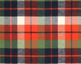 Adventure Plaid fabric - orange, navy, green