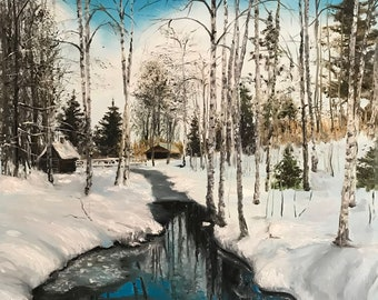 Original painting Spring Painting white birch  Oil on canvas Wall art 25.6x17.7