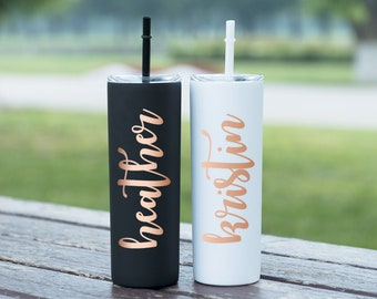 Personalized Tumbler Bridal Party Tumbler Wedding Tumbler Bridal Gift Stainless Steel Skinny Tumbler with straw Personalized Water bottle